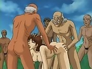 Hentai movie with group of disgusting old men banging...